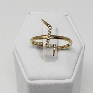 Stella and Dot Lightening Bolt Ring Gold Tone Pave